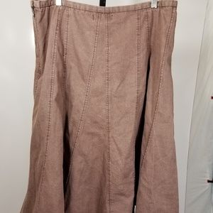 Momentum Brown A Line Flair Skirt Sz 14 Panel Side